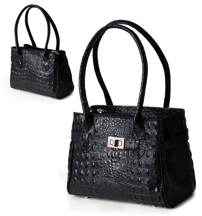 ital echt leder handtasche kelly bag kroko schwarz 1712 ebay. Black Bedroom Furniture Sets. Home Design Ideas