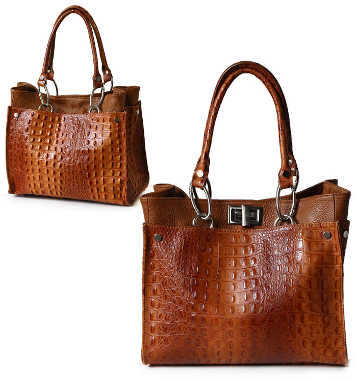 ital echt leder xl handtasche shopper kroko pr gung u glattleder cognac 1722 ebay. Black Bedroom Furniture Sets. Home Design Ideas